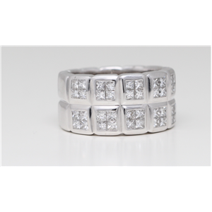 18k White Gold Princess cut invisible set unique classic double row eternity band (1.31 Ct G ,VS)