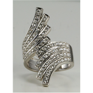 18k White Gold Multi-row round cut diamond exotic dress cocktail ring (1.22 Ct G ,VS)