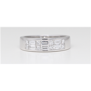 18k White Gold Double row baguette & princess cut invisible set classic chic eternity band (0.85 Ct G ,VS)