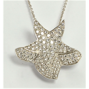 18k White Round Pave Setting modern five pointed star diamond pendant on a chain (1.09 Ct G VS Clarity)