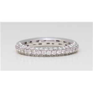 18k White Gold Round Pave Setting diamond extravagant classic half eternity ring (1.01 Ct G Color VS Clarity)