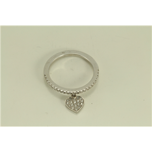 18k White Gold Fashionable trendy diamond eternity ring with pavee set heart shape charm (0.27 Ct G ,VS)