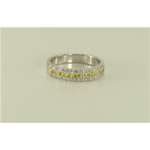 18k White Gold Princess & round cut invisible set classic elegant diamond wedding ring (0.58 Ct G & yellow ,VS)