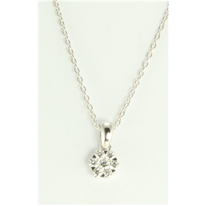 18k White Gold Round Cut diamond illusion effect pendant on an elegant chain (0.48 Ct,G Color,VS Clarity)