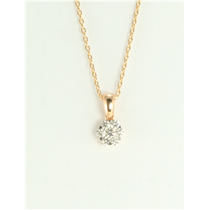 18k Rose Gold Round rose-gold diamond illusion pendant on an elegant chain (0.33 Ct,G Color,VS Clarity)