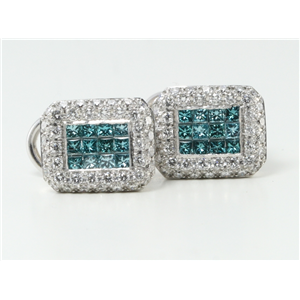 18k White Gold Classic chic charming princess & round cut diamond rectangle earrings (1.59 Ct G & BLUE ,VS)
