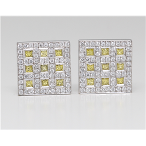 18k White Gold Princess and round cut diamond square classic art deco style dress earrings (1.5 Ct G & YELLOW ,VS)
