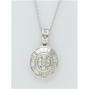 18k White Gold Baguettee & princess cut diamond classic oval pendant with an elegant chain (2.34 Ct G & G ,VS)