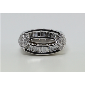 18k White Gold Baguette & round cut diamond exceptional exclusive cocktail ring (2.26 Ct G & G ,VS)