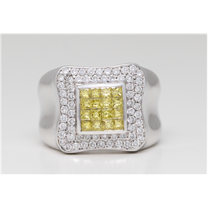 18k White Gold Invisible princess cut & round diamond elegant classic wedding band (1.16 Ct G & YELLOW ,VS)