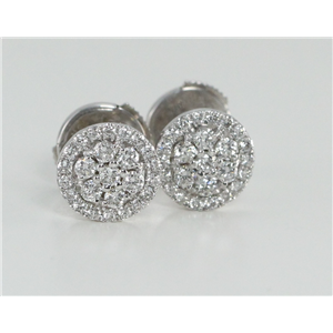 18k Two Tone Gold Round Seven-stone cluster earrings set in diamond bezel (0.52 Ct G VS Clarity)