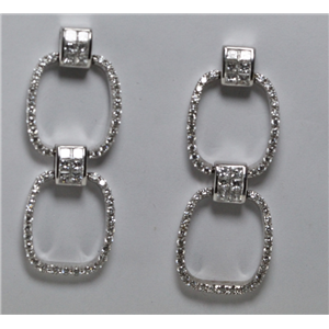 18k White Gold Round Double loop earrings with invisble princess diamond connectors (1.65 Ct G VS Clarity)