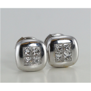 18k White Gold Princess Invisible Setting Classic four stone diamond stud earrings (0.66 Ct G VS Clarity)
