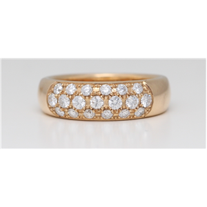 18k Rose Gold Round Rose-Gold Diamond Classic wedding band set with three row (0.67 Ct G Color VS Clarity)