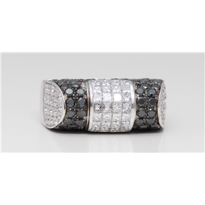 18k White Gold Princess Invisibly Set Arched black set ring with motif(BLACK & White Diamonds, VS)