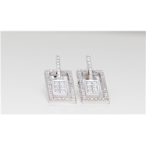 18k White & Princess & Pave diamond set rectangle frame drop earrings encasing set motif (0.92ct,G,VS)