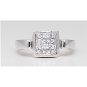 18k White Gold Princess Diamond Modern classic sixteen stone set ring(0.62ct, G, VS)