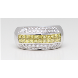 18k White Gold Diamond Double row set wedding b& with pave set sides Yellow & White, Vs (Irradiated)