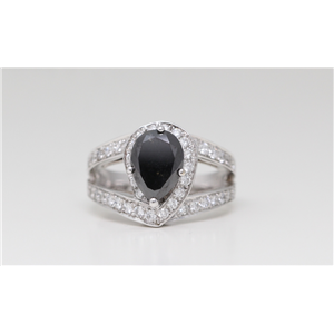 18k White Gold Diamond Pave Pear-Shape ring with two row pave set ribbon sides Black & White (Irradiated)