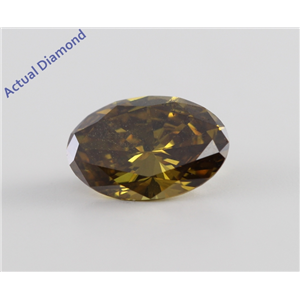 Oval Cut Loose Diamond (1 Ct, Natural Fancy Dark Yellow Brown, SI2) GIA Certified