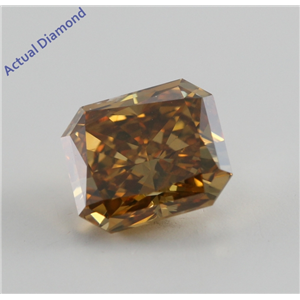 Radiant Cut Loose Diamond (1.07 Ct, Natural Fancy Deep Brownish Orangy Yellow, SI2) GIA Certified