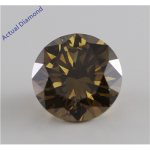 Round Cut Loose Diamond (2.7 Ct, Natural Fancy Dark Brown Greenish Yellow, SI2) GIA Certified