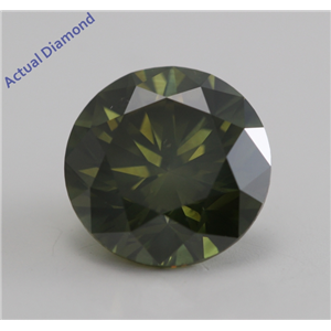 Round Cut Loose Diamond (2.13 Ct, Fancy Deep Olive Green (Color Irradiated), VS2) IGL Certified