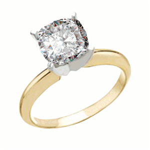 Cushion Diamond Solitaire Engagement Ring 14K Yellow Gold (1 Ct, K Color, VS2 Clarity) GIA Certified
