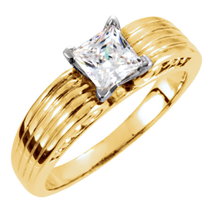 Princess Diamond Solitaire Engagement Ring 14k Yellow Gold (1.01 Ct, F Color, VVS2 Clarity) GIA Certified