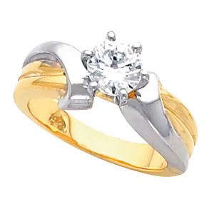 Round Diamond Solitaire Engagement Ring 14k Two Tone Gold (1.03 Ct, E Color, SI2 Clarity) GIA Certified