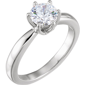 Round Diamond Solitaire Engagement Ring 14k White Gold (1.01 Ct, G Color, I1 Clarity) GIA Certified