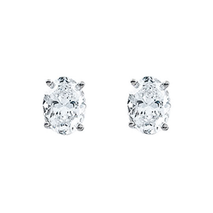 Oval Diamond Stud Earrings 14k White Gold (0.78 ct Ct, H Color, SI1 Clarity)