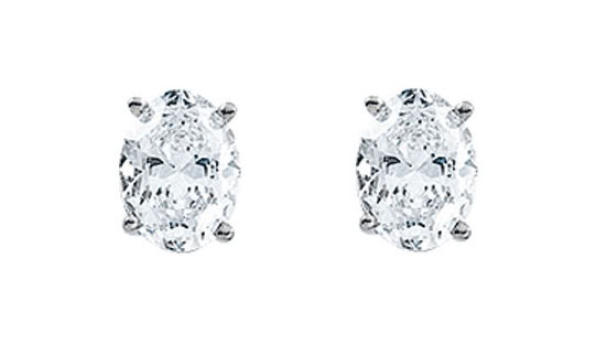Oval Diamond Stud Earrings 14k White Gold 0 78 Ct H Color Si1 Clarity