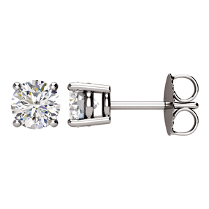 Round Diamond Stud Earrings 14K White Gold (1.02 ct Ct, H Color, SI2 Clarity)