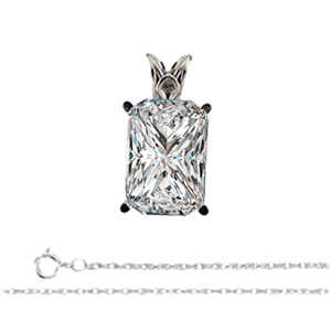 Radiant Diamond Solitaire Pendant Necklace 14K White Gold ( 0.7 Ct, F, VS2 GIA Certified)
