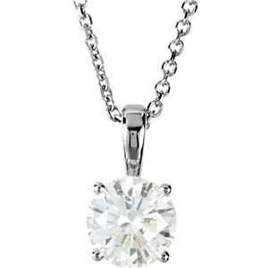 Round Diamond Solitaire Pendant Necklace 14K White Gold ( 1.03 Ct, E, SI2 GIA Certified)