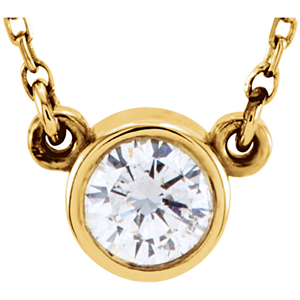 Round Diamond Solitaire Pendant Necklace 14k Yellow Gold ( 1.03 Ct, H, SI2 IGL Certified)