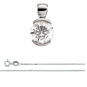 Round Diamond Solitaire Pendant Necklace 14K White Gold ( 1.05 Ct, I, SI2 GIA Certified)