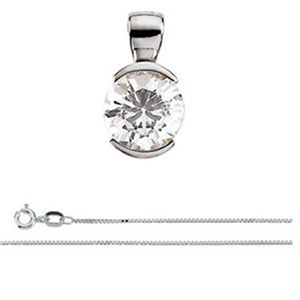 Round Diamond Solitaire Pendant Necklace 14K White Gold ( 1.17 Ct, D, VS1(Clarity Enhanced) IGL Certified)