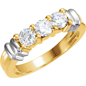Round Diamond Solitaire Engagement Ring 14k Two Tone Gold 0.7 Ct, (F-G Color, VS2 Clarity)