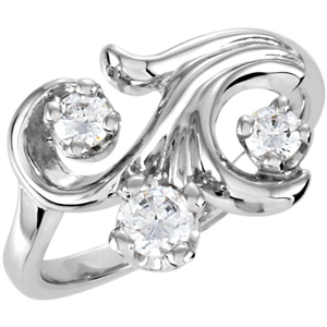 Round Diamond Solitaire Engagement Ring 14k White Gold 0.72 Ct, (F Color, VS Clarity)