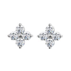 Round Diamond Stud Earrings 14k White Gold (1.87 Ct, F Color, VS Clarity)
