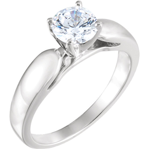 Round Diamond Solitaire Engagement Ring, 14k White Gold (0.47 Ct, F Color, SI1 Clarity) GIA Certified