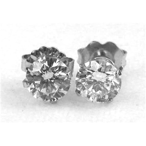 Round Diamond Stud Earrings 14k White Gold (0.95 Ct, D-E Color, VS1 Clarity)
