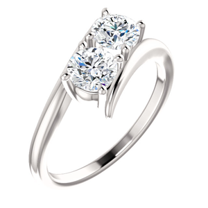 Round Two Stone Diamond Engagement Ring, 14k White Gold (0.51 Ct, F Color, VS2 Clarity)
