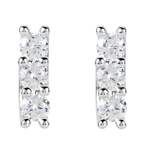 Round Diamond Stud Earrings 14k White Gold (1.39 Ct, F Color, VS Clarity)