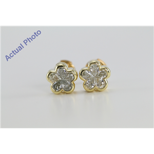 18k Yellow Gold Invisible Setting Pear Cut Diamond Flower Earrings (0.73 Ct, M-N Color, VS Clarity)