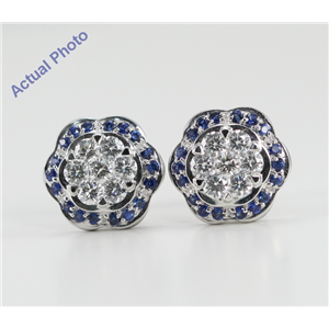 18k White Gold Invisible Setting Round Cut Diamond Flower Earrings (0.77 Ct, G Color with Surrounding Blue Sapphire Stones, VS Clarity)