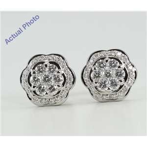 18k White Gold Invisible Setting Round Cut Diamond Flower Earrings (1.02 Ct, G Color, VS Clarity)