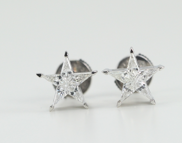18k White Gold Kite Cut Diamond Invisible Setting Star Shaped Stud Earrings 0 35 Ct G H Color